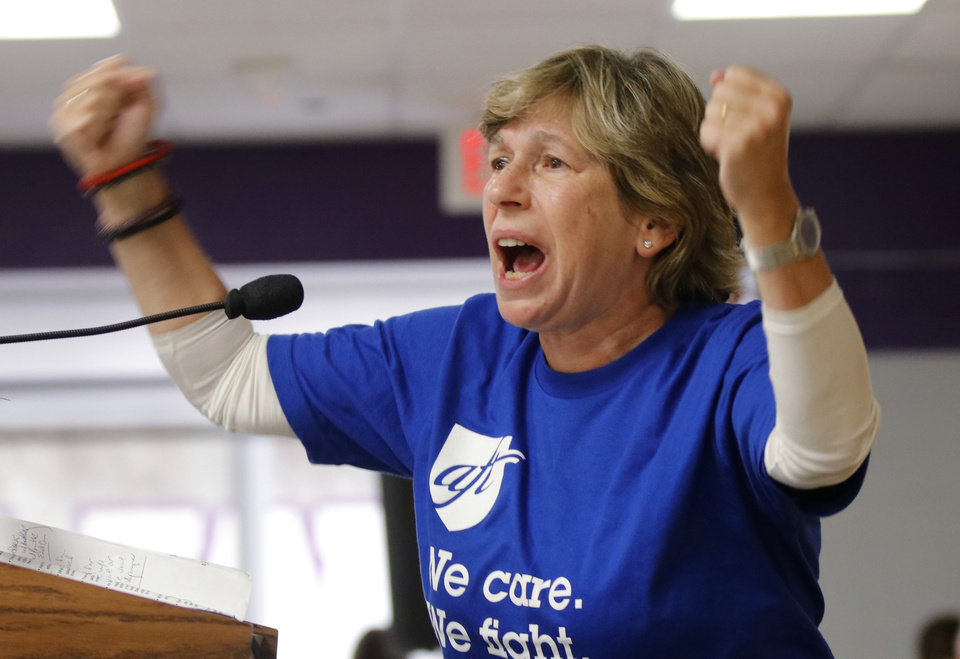Photo -  American Federation of Teachers President Randi Weingarten speaks Saturday during the rally. [Photo by Doug Hoke, The Oklahoman]