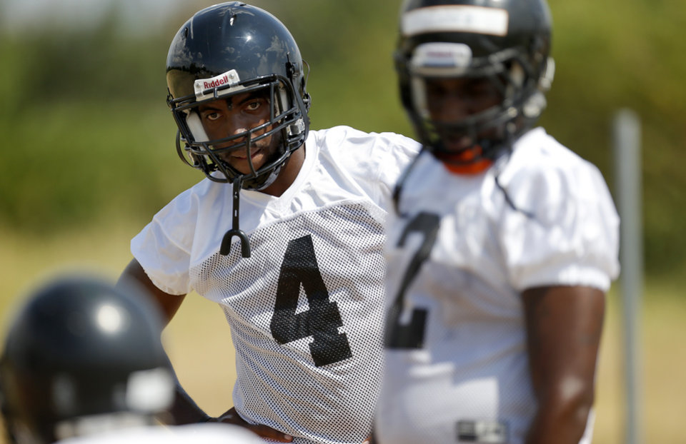 D.J. Ward of Douglass stands during football practice at Douglass high school in Oklahoma City, Tuesday, August 7, 2012. Photo by Bryan Terry, The Oklahoman