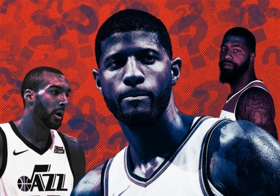 Photo -  Passing Denver for the No. 2 seed in the Western Conference would likely help Paul George (center), Markieff Morris (right) and the Thunder avoid a first-round matchup against Rudy Gobert and the Jazz. [OKLAHOMAN PHOTO ILLUSTRATION]