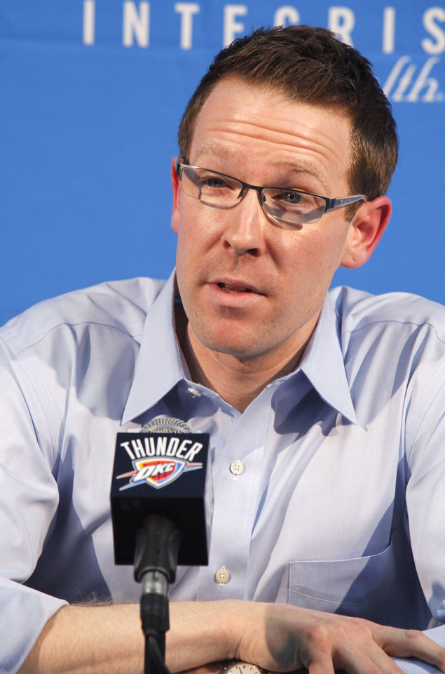 Photo - NBA BASKETBALL: Oklahoma City Thunder general manager Sam Presti speaks to the media during a season-ending press conference at the Thunder's practice facility in Oklahoma City, OK, Monday, May 3, 2010. By Paul Hellstern, The Oklahoman ORG XMIT: KOD