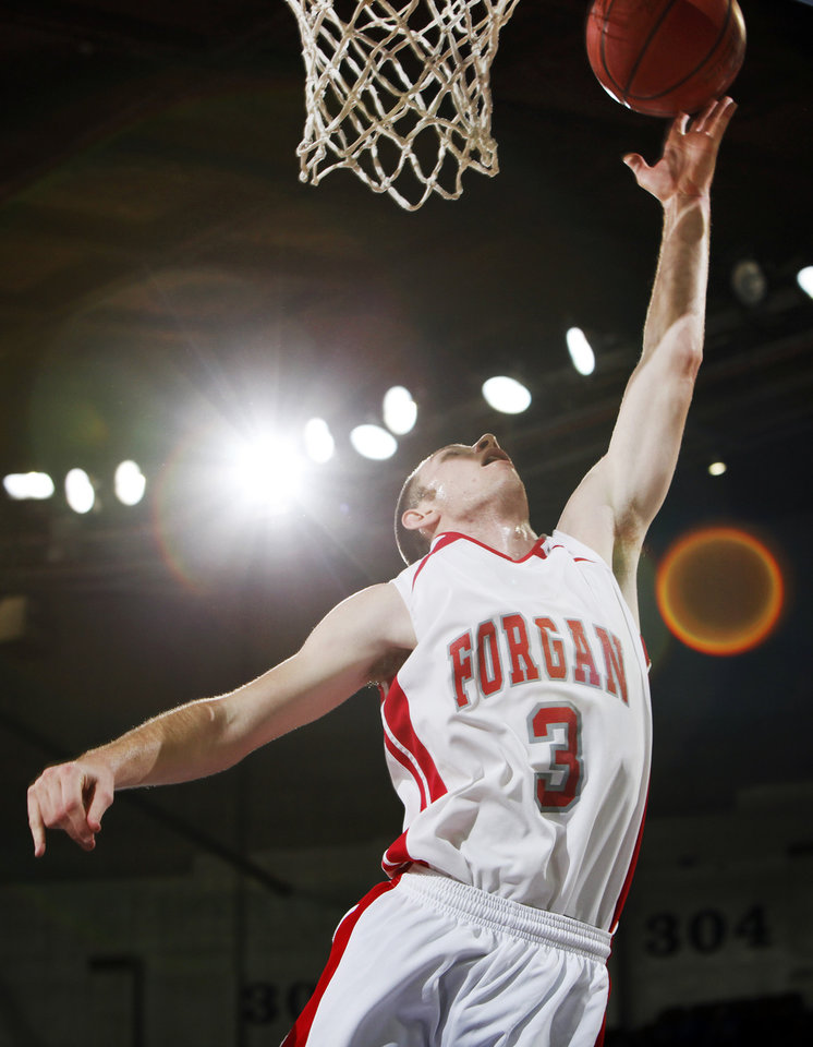 Forgan's Rhett Radcliff (3) lays up the ball during the Class B boys basketball state tournament championship game between Graham and Forgan at State Fair Arena in Oklahoma City, Saturday, March 5, 2011. Forgan won, 81-47. Photo by Nate Billings, The Oklahoman