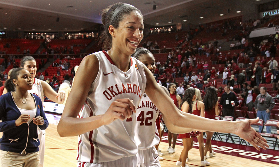 Oklahoma Sooners' Nicole Griffin (4) leaves the court as the University of Oklahoma (OU) Sooners defeat the Oklahoma State Cowgirls 80-71 in women's college basketball at the Lloyd Noble Center on Saturday, Feb. 4, 2012, in Norman, Okla.   Photo by Steve Sisney, The Oklahoman