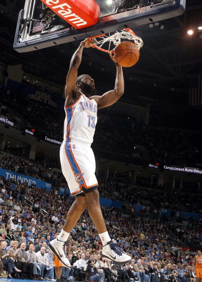 Oklahoma City's James Harden (13)during the NBA game between the Oklahoma City Thunder and the Phoenix Suns, Sunday, March 6, 2011, the Oklahoma City Arena. Photo by Sarah Phipps, The Oklahoman.