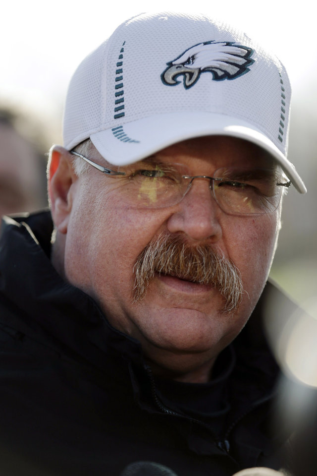 Philadelphia Eagles coach Andy Reid speaks with members of the media during a news conference at the team's NFL football training facility, Wednesday, Dec. 19, 2012, in Philadelphia. (AP Photo/Matt Rourke)