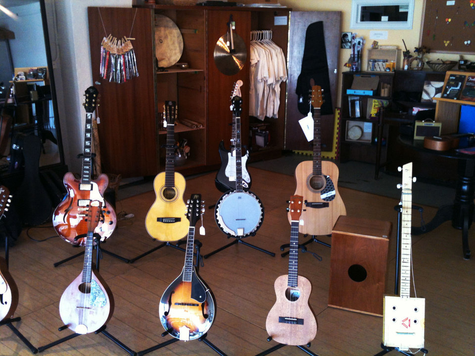Guitars for sale are shown at Sonder Music in Norman, one of the retailers participating in Small Business Saturday. PHOTO PROVIDED