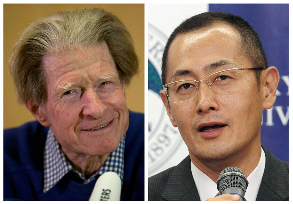 In this Monday, Oct. 8, 2012 photo combo, British scientist John Gurdon, left, speaks in London, and Japanese scientist Shinya Yamanaka, right, speaks in Kyoto after they were named winners of the 2012 Nobel Prize in medicine for discovering that mature, specialized cells of the body can be reprogrammed into stem cells � a discovery that scientists hope to turn into new treatments. (AP Photo/Matt Dunham, left; Kyodo News, right) JAPAN OUT, MANDATORY CREDIT, NO LICENSING IN CHINA, FRANCE, HONG KONG, JAPAN AND SOUTH KOREA