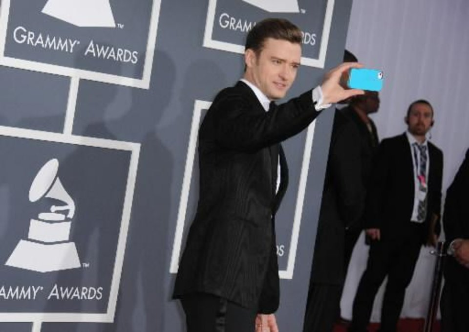 Musician Justin Timberlake arrives at the 55th annual Grammy Awards on Sunday, Feb. 10, 2013, in Los Angeles. (AP)