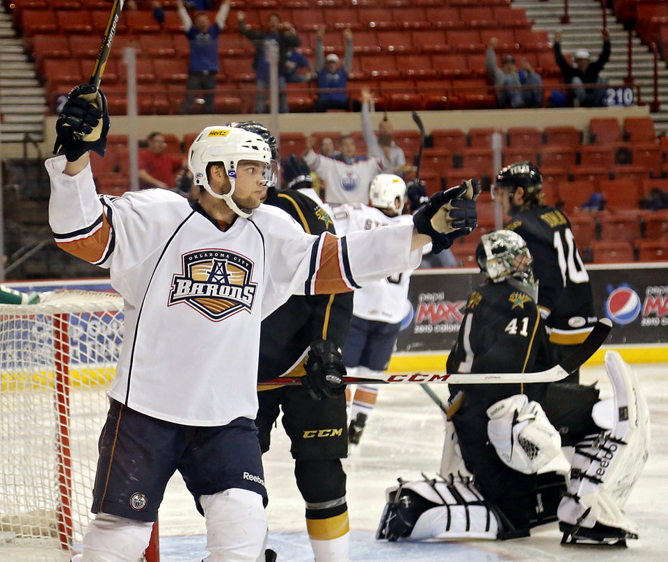Oklahoma City's Teemu Hartikainen (10) reacts after a Barons' goal against Texas during the conference semifinal hockey game between the Oklahoma City Barons and the Texas Stars at the Cox Convention Center on Wednesday, May 15, 2013 in Oklahoma City, Okla.  Photo by Chris Landsberger, The Oklahoman