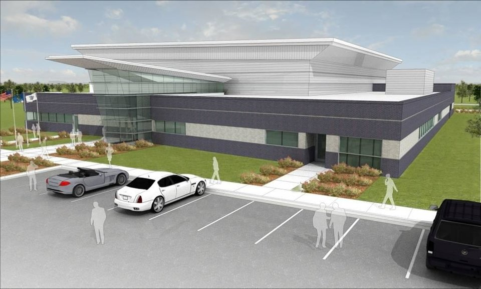 An artist\'s rendering of the Oklahoma City Thunder\'s practice facility to be built northeast of the intersection of Broadway and Britton. PHOTO PROVIDED