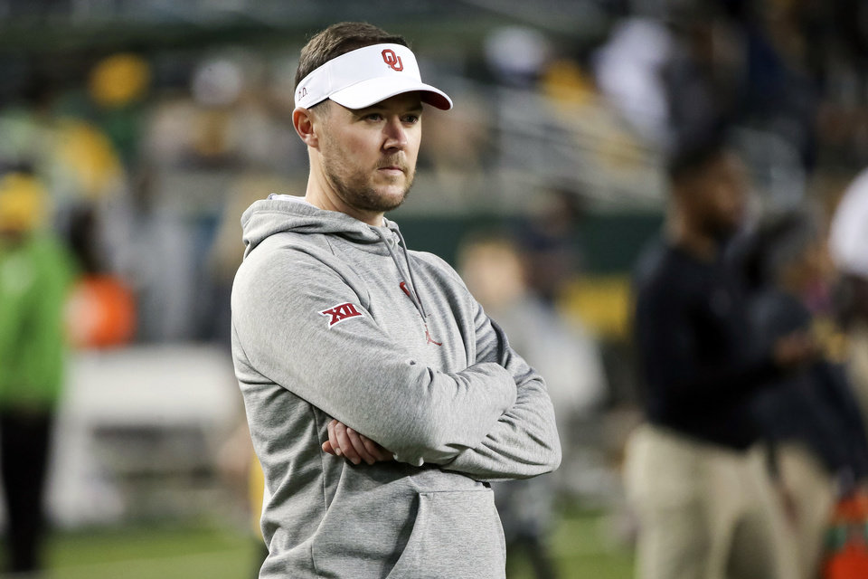 Photo - Oklahoma head coach Lincoln Riley watches warmups before an NCAA college football game against Baylor in Waco, Texas, Saturday, Nov. 16, 2019. (AP Photo/Ray Carlin)