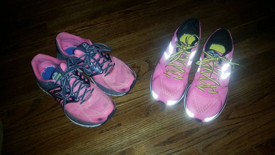 Photo -  Out with the old Brooks (right), in with the new Newtons (left).