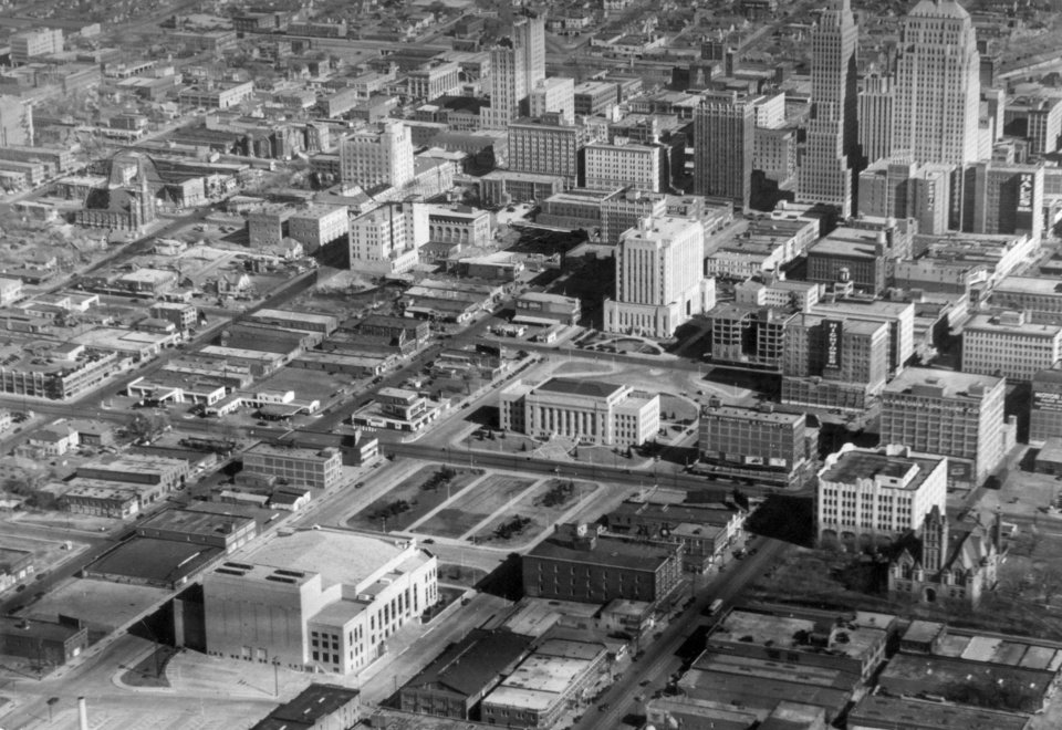 OKLAHOMA CITY / SKYLINE / AERIAL VIEW:  Aerial view of downtown Oklahoma City.   Building in lower left corner is the Civic Center Music Hall, with the Oklahoma City Municipal Building (City Hall) seen in the center of the photo across the open square block from the Civic Center.  View is looking northeast.  Staff photo by Bennie Turner on 2-8-38.  Photo ran in the 6-20-38 Daily Oklahoman.