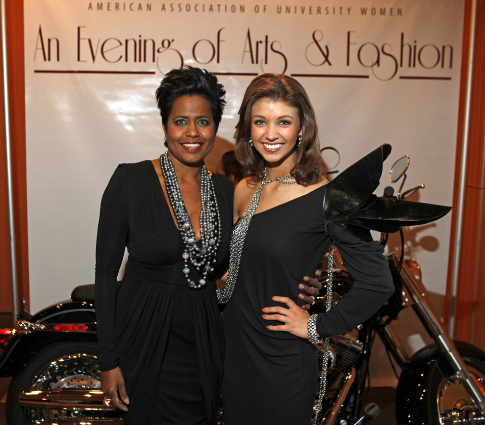 Designer Stella Thomas, left, and Miss Oklahoma Betty Thompson pose for a photo  during the OSU chapter of the American Association of University Women's fundraiser, An Evening of Arts and Fashion, on the campus of Oklahoma State University in Stillwater, Okla., Friday, March 16, 2012. Photo by Bryan Terry, The Oklahoman