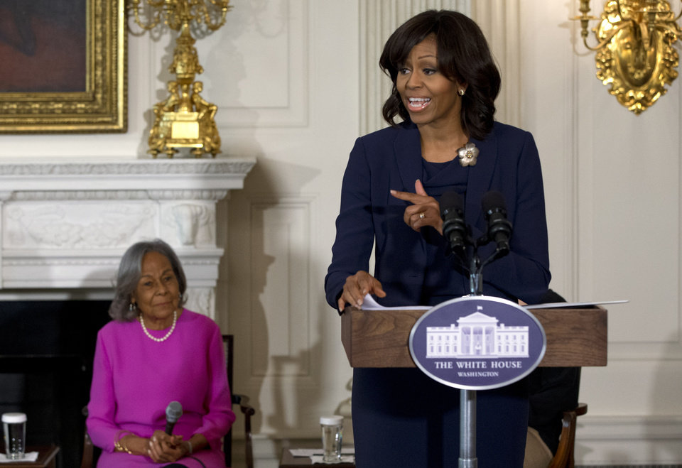 Photo - First Lady Michelle Obama introduces a panel of the cast and crew of the movie