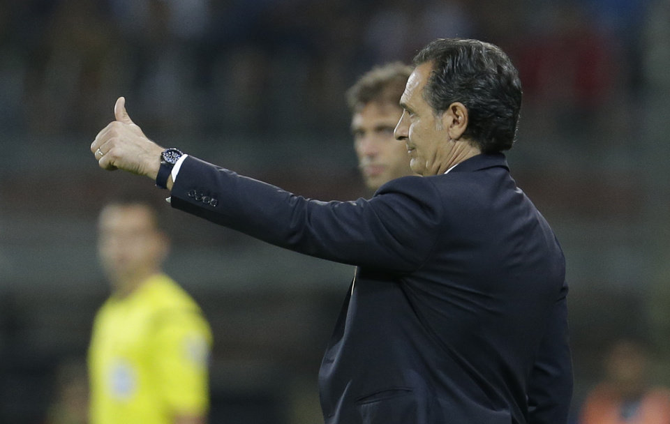 Photo - Italy coach Cesare Prandelli gives the thumbs up during a friendly World Cup preparation soccer match between Italy and Luxembourg in Perugia, Italy, Wednesday, June 4, 2014. Italy opens its Brazilian World Cup campaign against England in Group D on June 14 then faces Costa Rica on June 20 and Uruguay on June 24. (AP Photo/Luca Bruno)