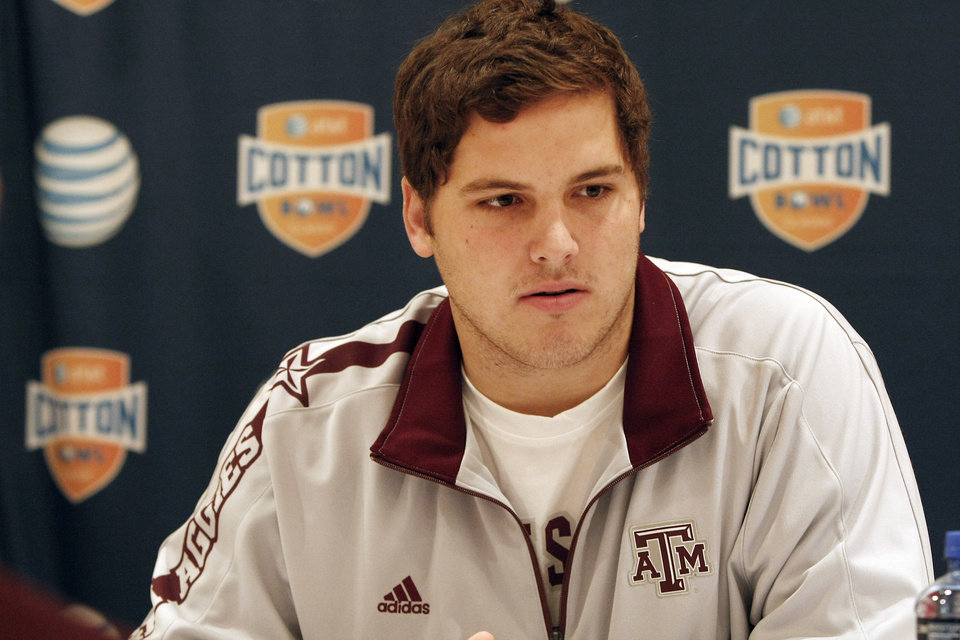 Texas A&M junior offensive lineman Luke Joeckel answers questions during a press conference for the Cotton Bowl NCAA college football at the Omni Mandalay hotel, Tuesday, Jan. 1, 2013, in Irving, Texas. Texas A&M plays Oklahoma on Jan. 4 in the Cotton Bowl in Arlington, Texas. (AP Photo/Brandon Wade) ORG XMIT: TXBW114