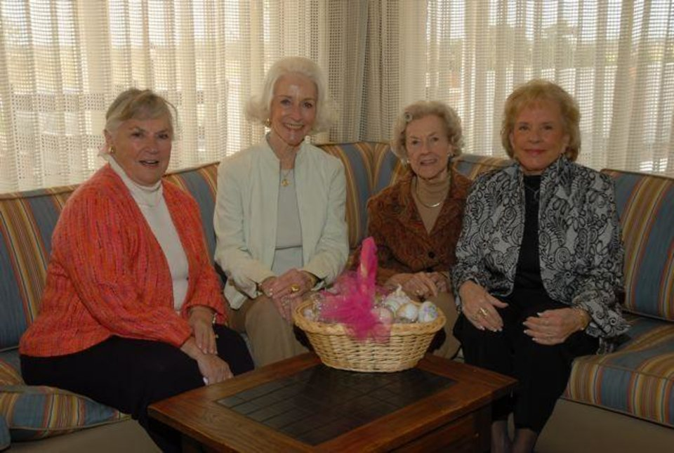 MARCH BIRTHDAYS....Marge Duncan, Bertie Foster, Patsy Thompson and  Joan Deardeuf enjoy the birthday party. (Photo by Jerry Hymer).