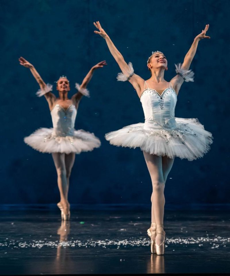 Photo - Oklahoma City Ballet dancers perform in the snowflake scene. [DIANE BITTLE]