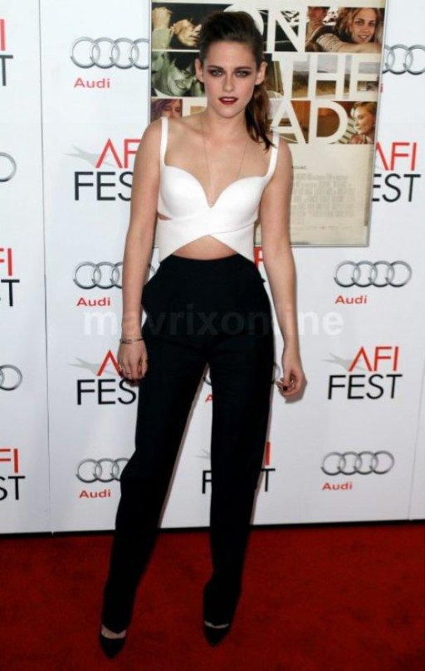 Kristen Stewart�s recent appearance in Balenciaga at a screening for �On the Road� at the AFI Fest was of particular significance. It was refreshing to see Stewart in menswear-reminiscent attire � the jumpsuit was sort of a sexy cutout tuxedo.