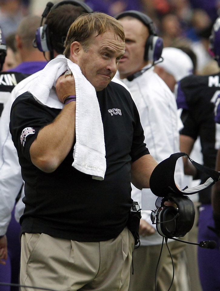 Photo -   TCU head coach Gary Patterson watches from the sidelines during the first half on an NCAA college football game against Iowa State, Saturday, Oct. 6, 2012, in Fort Worth, Texas. Iowa State won 37-23. (AP Photo/LM Otero)