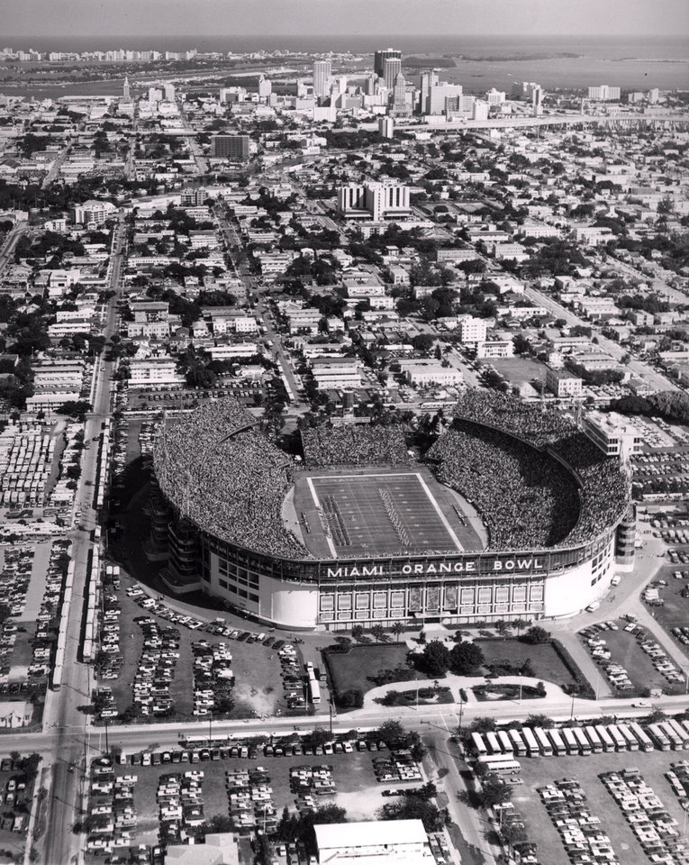Photo - The Orange Bowl in Miami (shown here in 1975) is 65 years old. It was home to the Orange Bowl Classic through 1996. (Original photo ran 12/09/75 TIMES) (PHOTO PROVIDED BY MIAMI - METRO DEPT. OF PUBLICITY AND TOURISM)