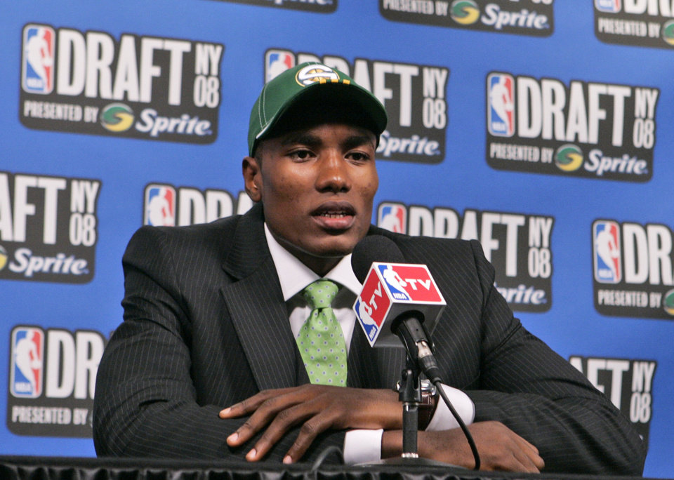 Photo - SEATTLE SONICS, NBA DRAFT: Serge Ibaka responds to questions during an interview after being selected by the Seattle SuperSonics in the first round of the NBA basketball draft Thursday, June 26, 2008  in New York.  (AP Photo/Frank Franklin II) ORG XMIT: NYFF122