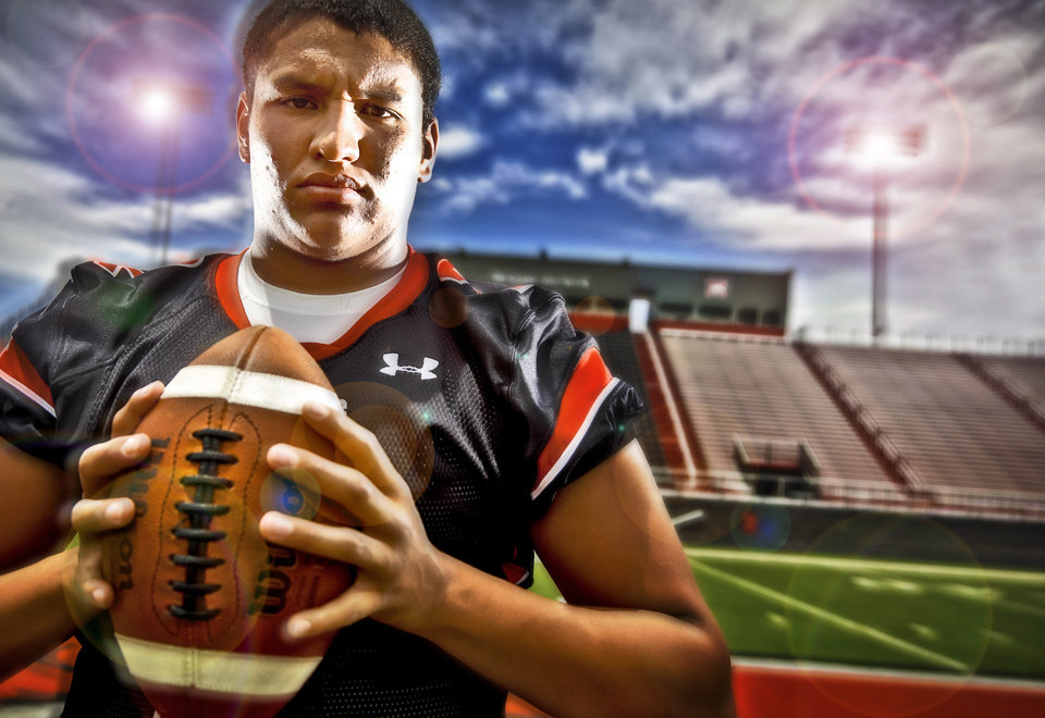 Mustang High School football quarterback Brandon Taylor poses for a photo on Thursday, June 23, 2011, in Mustang, Okla.  Photo Illustration by Chris Landsberger, The Oklahoman