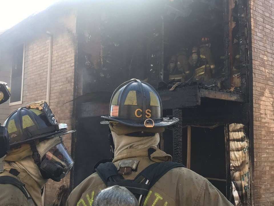 Photo - Firefighters responded Monday morning to an apartment fire in the 1900 block of Heritage Park Drive. No injuries were reported. [Photo provided]