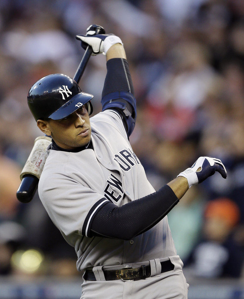 Photo - FILE - In this Oct. 18, 2012 file photo, New York Yankees' Alex Rodriguez prepares to hit in the sixth inning during Game 4 of the American League championship series against the Detroit Tigers in Detroit. Major League Baseball says it is