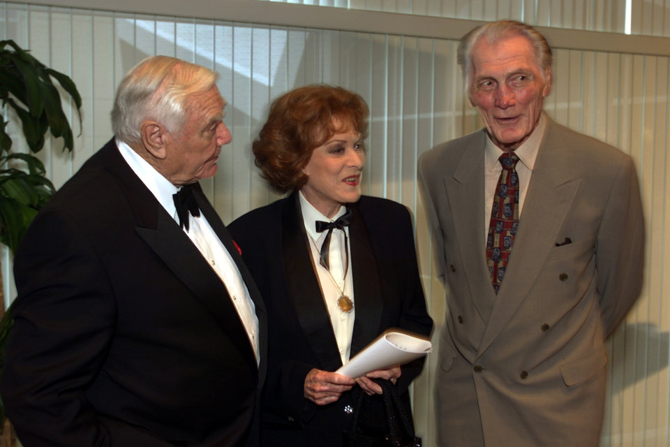 Photo - Ernest Borgnine, Maureen O'Hara, and Jack Palance appear before the Western Heritage Awards at the National Cowboy & Western Heritage Museum.   Staff photo by Steve Sisney