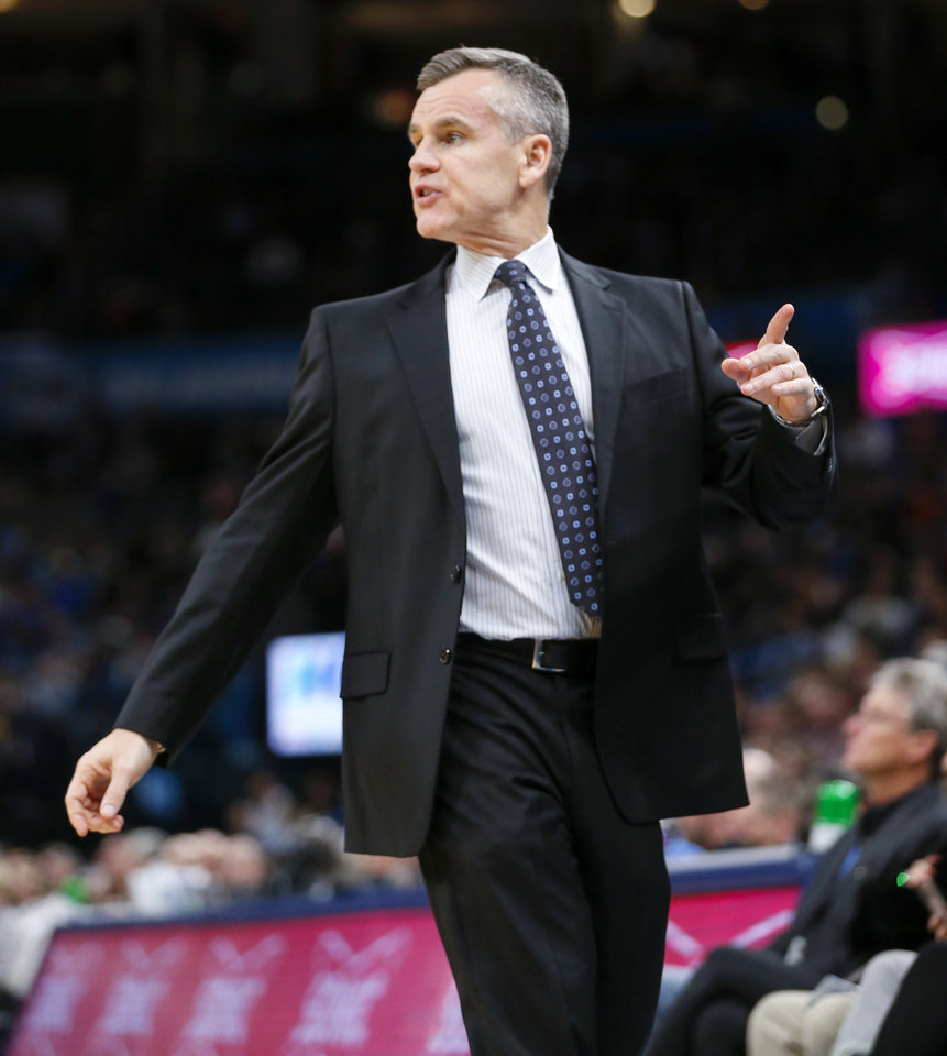 Photo - Oklahoma City coach Billy Donovan gives instructions to his team during an NBA basketball game between the Indiana Pacers and the Oklahoma City Thunder at Chesapeake Energy Arena in Oklahoma City, Wednesday, Dec. 4, 2019. Indiana won 107-100. [Nate Billings/The Oklahoman]