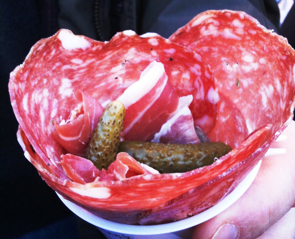 The Meat Cone from Zingerman's Delicatessan includes various house-cured meats and gherkins. <strong>DAVE CATHEY - THE OKLAHOMAN</strong>