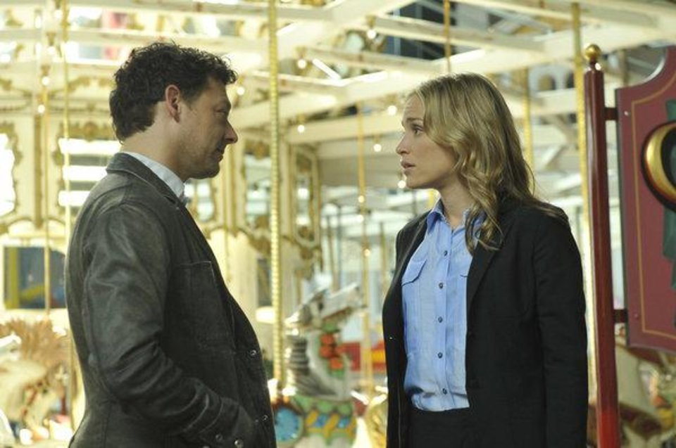 "COVERT AFFAIRS -- Episode 308 ""Glass Spider"" -- Pictured: (l-r) Richard Coyle as Simon Fischer, Piper Perabo as Annie Walker -- (Photo by: Steve Wilkie/USA Network)"