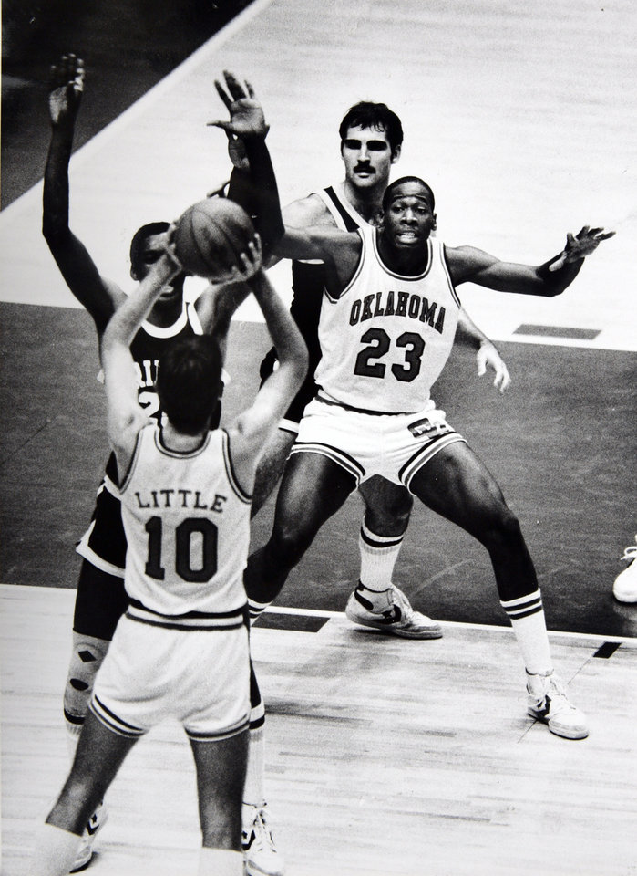 Former OU basketball player Wayman Tisdale. Wayman Tisdale (23) has helped to make Oklahoma the chief challenger for the Big Eight Conference title. Photo by Doug Hoke. Photo taken 1/7/1983, photo published 1/16/1983. ORG XMIT: KOD