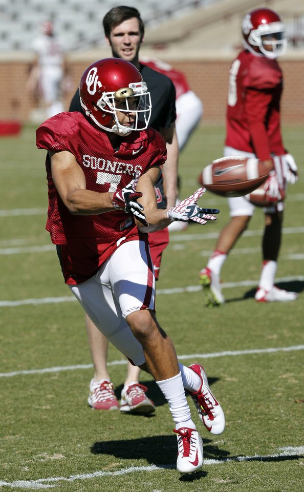 Photo - Dannon Cavil (7) goes through drills as the University of Oklahoma Sooners (OU) begin spring practice on Owen Field at Gaylord Family-Oklahoma Memorial Stadium in Norman, Okla., on Tuesday, March 11, 2014. Photo by Steve Sisney, The Oklahoman