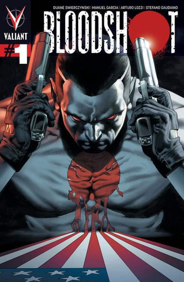 "The cover to ""Bloodshot"" No. 1.  Valiant Comics. <strong></strong>"