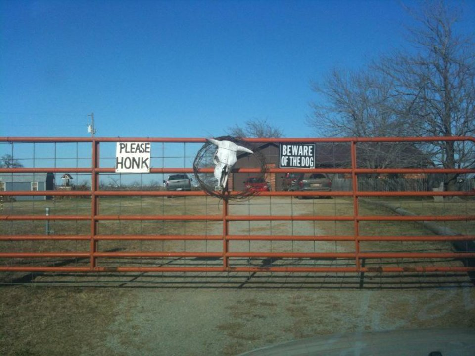 Photo - The entrance to Donna Jackson's home south of Cushing. Photo by Johnny Johnson.