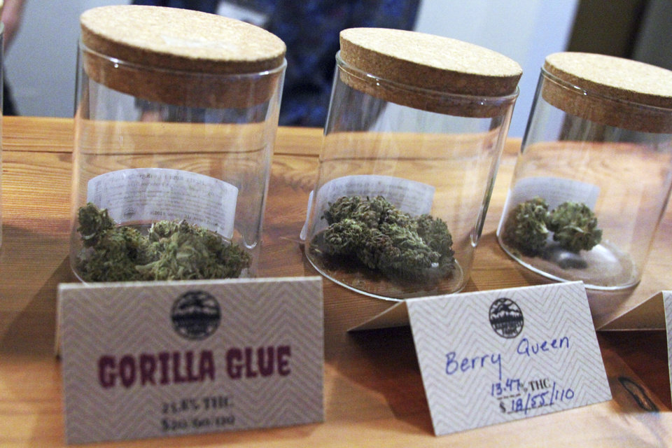 Photo - File - This Jan. 18, 2017, file photo shows marijuana including the store's best-seller, Gorilla Glue, available for sale at Rainforest Farms in Juneau, Alaska. Cannabis businesses are coming to Oklahoma now that medical marijuana is legal — but they'll be unable to get federal trademark protections for their brands. (AP Photo/Mark Thiessen, File)