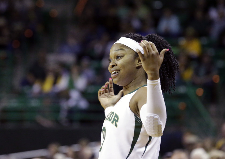 Photo - Baylor guard Odyssey Sims (0) reacts after her team scored during the first half of an NCAA college basketball game against the Oklahoma, Monday, Feb. 24, 2014, in Waco, Texas. (AP Photo/LM Otero)