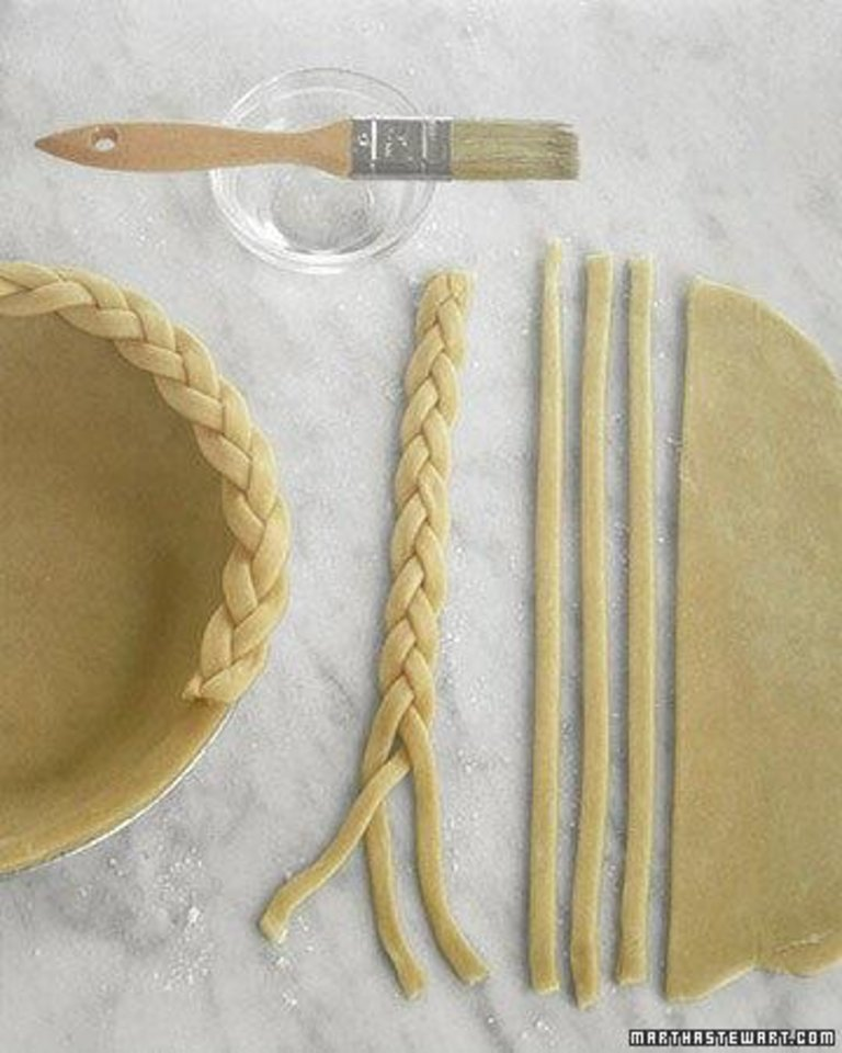 Photo - This idea is so Martha Stewart. For an extra-special piecrust, cut thin slices of pie crust and braid them together, to be baked onto the edge of the pie. From Marthastewart.com.