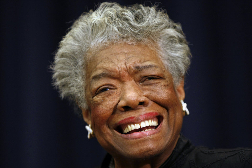 Photo - FILE - This Nov. 21, 2008 file photo shows poet Maya Angelou smiling in Washington. First lady Michelle Obama and others plan to gather to pay tribute to African-American poet and playwright Maya Angelou at a memorial service Saturday, June 7, 2014 at the university in North Carolina where Angelou taught for more than 30 years.  Angelou died last week at 86. (AP Photo/Gerald Herbert, File)