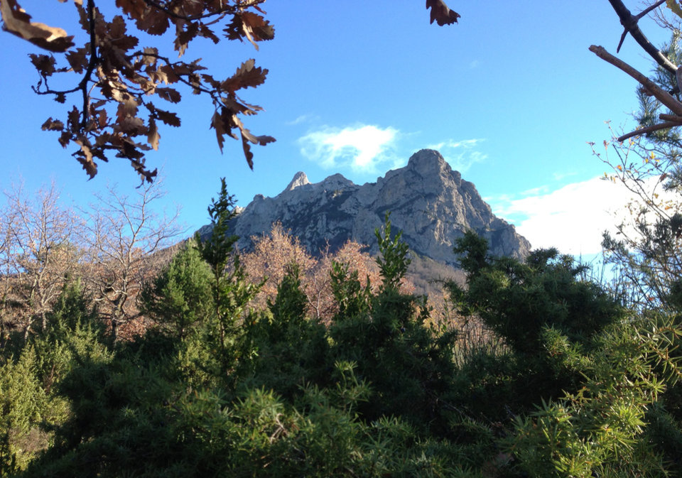 Foliage frames the Bugarach mountain peak in southern France, Monday, Dec. 10, 2012. From Russia to California, thousands are preparing for the fateful day, when many believe a 5,125-year cycle known as the Long Count in the Mayan calendar supposedly comes to an end. The Internet has helped feed the frenzy, spreading rumors that a mountain in the French Pyrenees is hiding an alien spaceship that will be the sole escape from the destruction. French authorities are blocking access to Bugarach peak from Dec. 19-23 except for the village\'s 200 residents