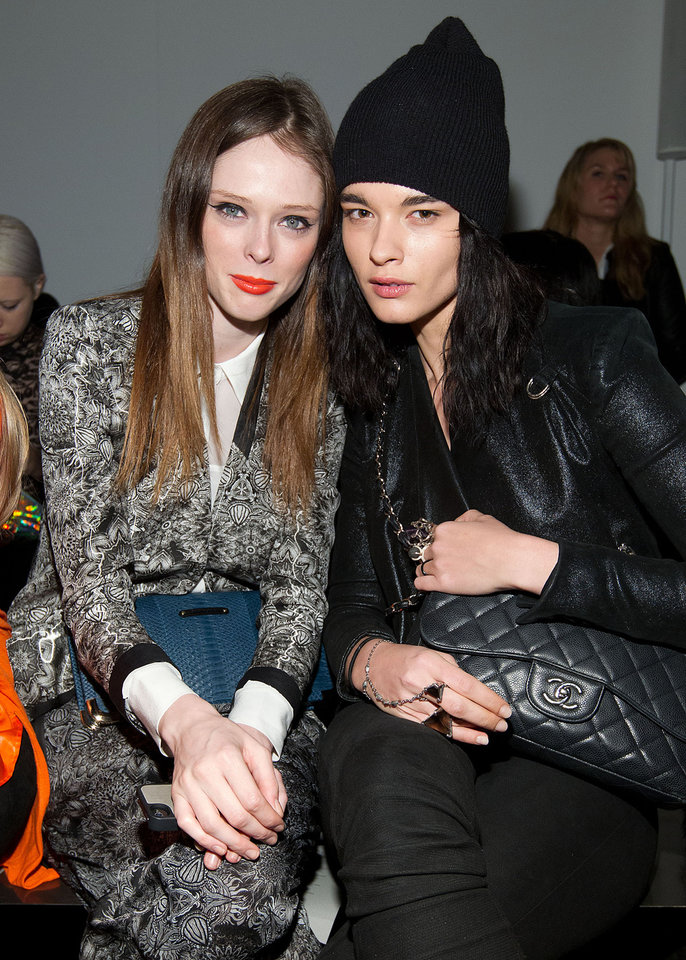 Models Coco Rocha, left, Crystal Renn attends the Fall 2013 Helmut Lang Runway Show on Friday, Feb., 8, 2013 during Fashion Week in New York. (Photo by Dario Cantatore/Invision/AP)