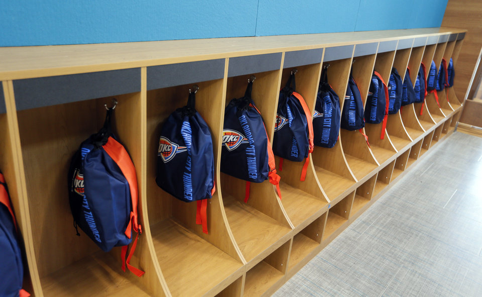 Photo - Cubbies with backpacks for students at the new facility for Positive Tomorrows, a school for homeless children, at 901 N Villa in Oklahoma City, Tuesday, Nov. 26, 2019. [Nate Billings/The Oklahoman]
