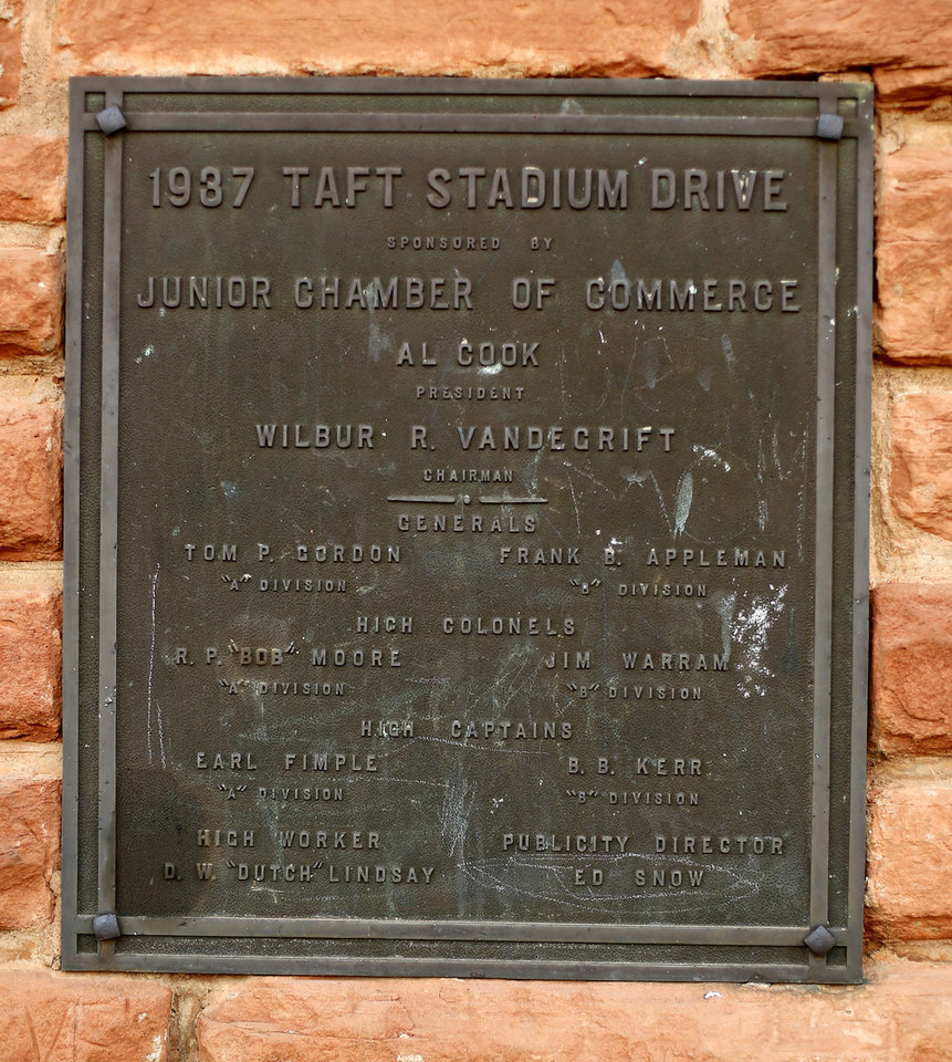 Plaque on the outside of Taft Stadium at the Northwest Classen vs. Western Heights high school football game at Taft Stadium Thursday, September 20, 2012. Photo by Doug Hoke, The Oklahoman