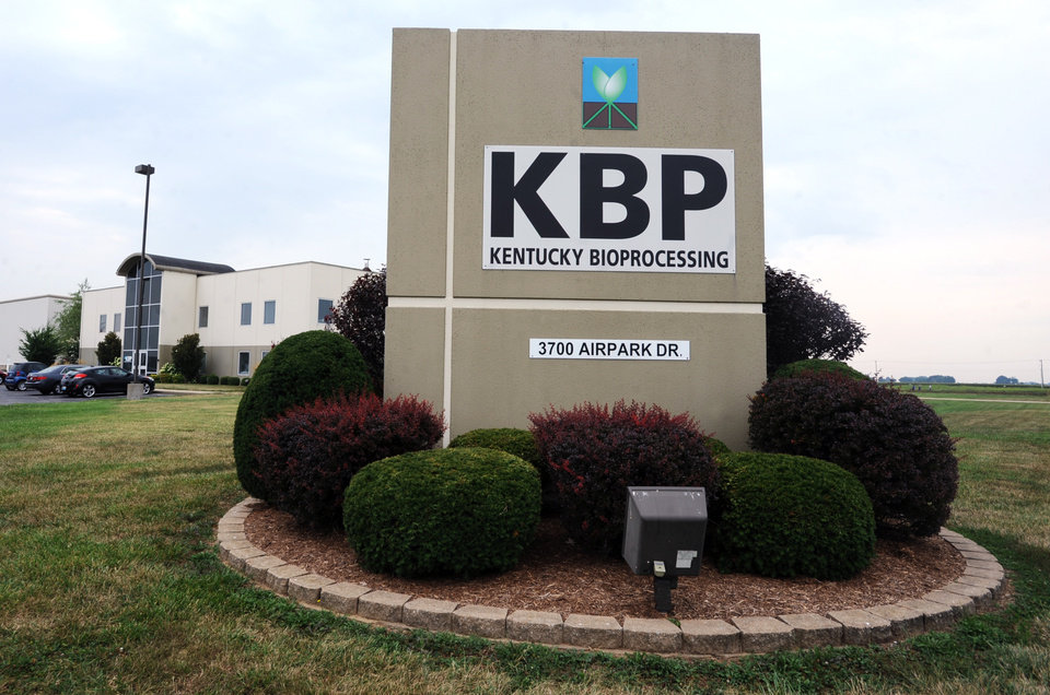 Photo - This Aug. 5, 2014 photo shows the entrance to Kentucky Bioprocessing in Owensboro, Ky. Kentucky Bioprocessing has the ability to be a supplier of ZMapp, a drug aimed at boosting the immune system's efforts to fight off Ebola and is made from antibodies produced by lab animals exposed to parts of the virus. (AP Photo/Messenger-Inquirer, Jenny Sevcik)