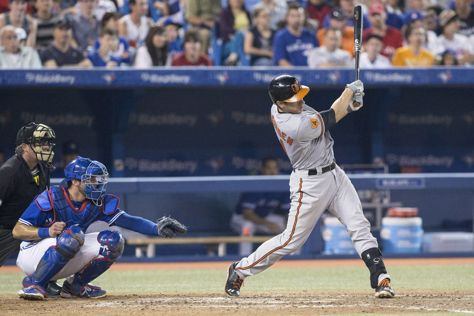 Baltimore Orioles\' Taylor Teagarden, right, hits a home run Toronto Blue Jays catcher J.P Arencibia looks on during the eighth inning of a baseball game in Toronto, Saturday, June 22, 2013. (AP Photo/The Canadian Press, Chris Young)