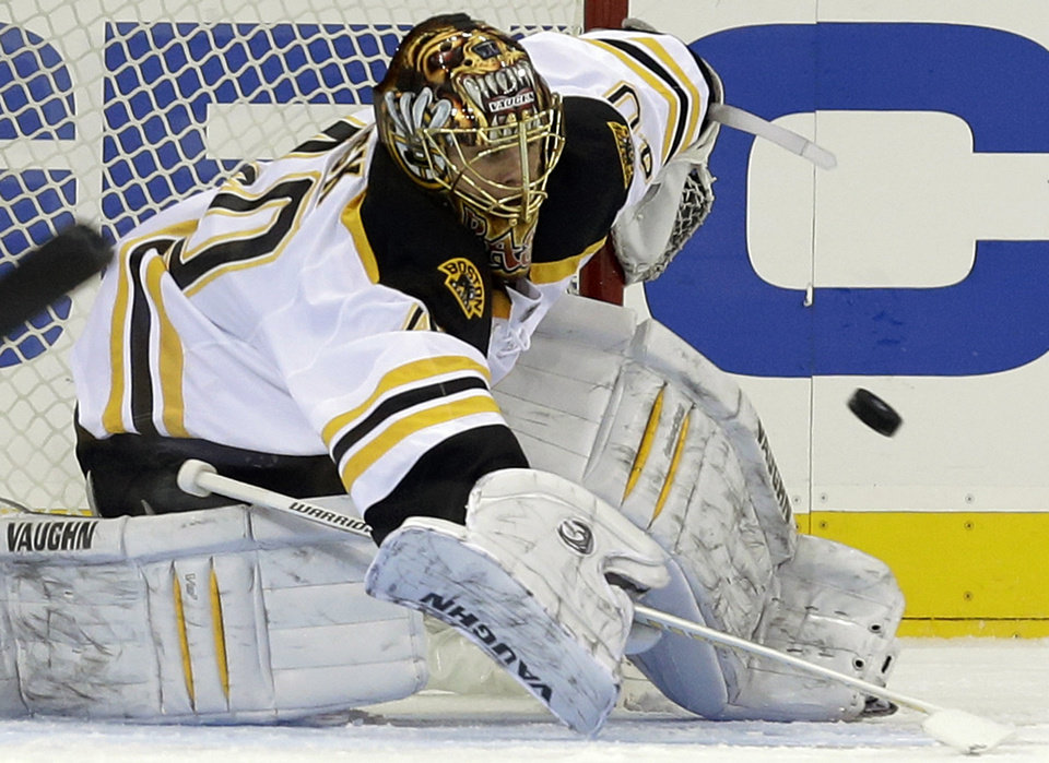 Photo - Boston Bruins goalie Tuukka Rask (40) makes a save in the first period of their NHL hockey game against the New York Rangers at Madison Square Garden in New York, Wednesday, Jan. 23, 2013. (AP Photo/Kathy Willens)