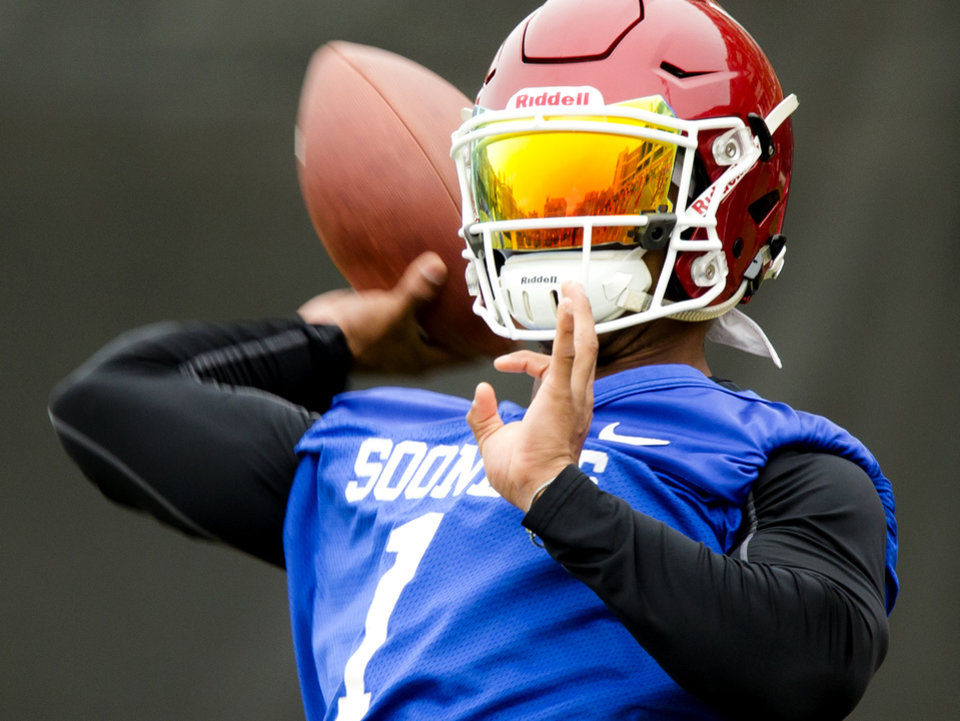 Photo - University of Oklahoma's Kyler Murray works out  during the first day of Spring practice for the OU football team in Norman, Okla. on Saturday, March 10, 2018. Photo by Chris Landsberger, The Oklahoman