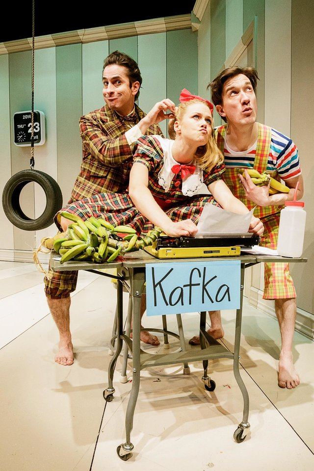 """This photo released by Keith Sherman & Associates shows, from left, Matthew Saldivar, Liv Rooth and Carson Elrod, in a scene from Primary Stages' production of """"All In The Timing"""" by David Ives, performing off-Broadway at 59E59 Theaters in New York. (AP Photo/Keith Sherman & Associates, James Leynse)"""